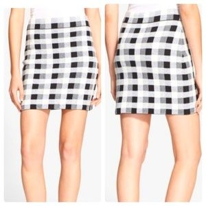 Theory mini stretch skirt black & white check Y2K mini skirt 90's Chanel style